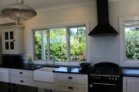 Fully kitchen with garden views